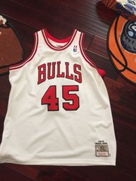 Chinese  michael #45 mitchell and ness Sewn jersey Mens Vest Size XS-6XL Stitched basketball Jerseys Ncaa manufacturers
