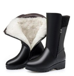 rhinestone tubes Australia - Large Size Cowhide Wool Winter Shoes Woman Snow Boots 2020 new In-tube boot Fashion Boots Women Boots rivet Genuine Leather Shoes flat