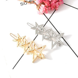 $enCountryForm.capitalKeyWord NZ - New Fashion Hollow Metal star Pentagram Hairpin Hair Clip Women Girls Hair Pin Jewelry Accessories Delicate Pin