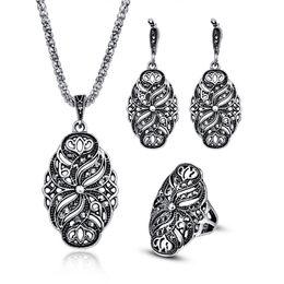 $enCountryForm.capitalKeyWord Australia - Indian Wedding Jewelry Sets Women Antique Silver Color Hollow Black Crystal Flower Pendant Vintage Fashion Necklace Earrings Set