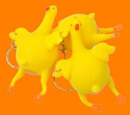 gadget pranks Canada - Funny Hens laying egg Toy Kids Birthday Party Favor Halloween Vent Jokes Gags Pranks Trick Gadgets Chicken Laying Egg Keychain