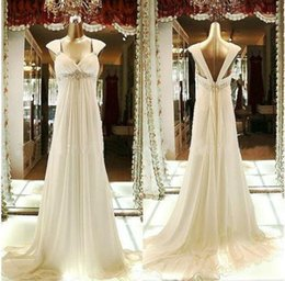 $enCountryForm.capitalKeyWord Canada - Simple chiffon white Ivory V neck noble A line cap shoulder beading Applique wedding dress Bridal gowns women dress women clothing for weddi