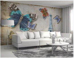 paris decor UK - Custom photo wallpapers 3D murals wallpaper Modern butterfly paris tower sofa background wall painting wall papers home decor