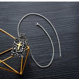 mens fashion dog tags Australia - Fashion Cross Men Stainless Steel Necklace Dog Tags Pendants Snake Chains Hip Hop Jewelry Design Necklaces For Mens Gift