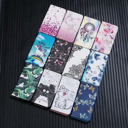 standing cartoon cat NZ - Cartoon cat marble butterfly flower Printed Wallet Flip Stand PU leather Case for iphone 12 Samsung NOTE20 PLUS A31 A21S A01 A51 A71 5G
