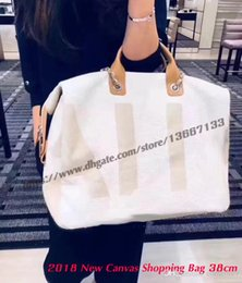 $enCountryForm.capitalKeyWord NZ - Top Quality 2018 New Design Blue Canvas Shopping Tote Handbag with Letter Printing 38cm Cream Tweed zipper Shoulder Bags Leather Chain