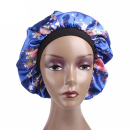 Wholesale piece sleep set resale online - New wide breasted satin caps Hair protection cap sleeping hair bonnets pieces One Set