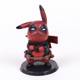 Figures Australia - Pikachu Cos Deadpool   Captain America Mini PVC Figure Collectible Model Toy Small Size 10cm Y190530