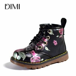 Elegant Flower Girl Shoes Australia - DIMI 2018 New Children Shoes Girls Boots PU Leather Martin Boots Elegant Irregular Flowers Casual Kids Shoes For Girl Baby Boots