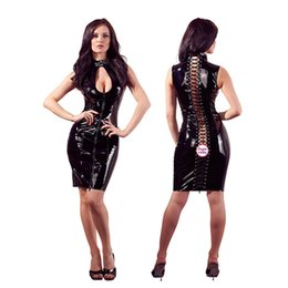afd3db5cdf4 Sexy Woman lady Open Bust Hollow out Patent Faux Leather Dress Women Sexy  Club Wear Tight Dress Nightclub Party Bandage
