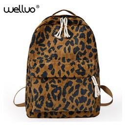 $enCountryForm.capitalKeyWord Australia - Fashion Female Backpack Leopard Print Corduroy Dual-straps Woman Travel Backpack Large Capacity Girl School Shoulder Bag Xa587wb Y190627