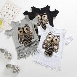 $enCountryForm.capitalKeyWord UK - HOT Baby Girls Casual Sequins Bling Three Colors Tassel Cute Animal Fashion T-shirt Summer 1-6Y