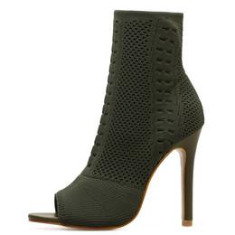 Womens Boots Green Elastic Knit Sock Boots Ladies Open Toe High Heels  Fashion Kardashian Ankle Women Pumps a5f1929b73f0