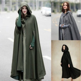 Womens long capes online shopping - Womens Cape Hooded Cloak Solid Color Cardigan Long Coats Cutton Blend Outerwear Ladies Cloting Loose Cloaks