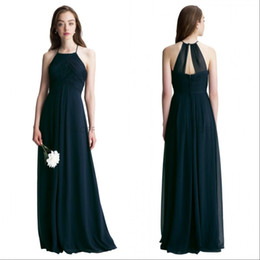 Chinese  Navy Blue Chiffon Long Bridesmaid Dresses 2019 Custom Made Pleats Floor Length Maid of Honor Wedding Guest Dress manufacturers
