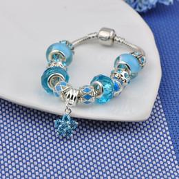 $enCountryForm.capitalKeyWord Australia - High End Fit Pandora Bracelets Blue Glass Beads Bangles Flower Pendant Turquoise Crystal Beaded Women Luxury Silver Bracelets Jewelry P75