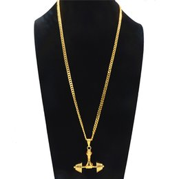 $enCountryForm.capitalKeyWord NZ - Creative Dumbbell Pendant Necklace For Men Hip-hop Geometric Alloy Gold Plated Long Necklaces Fashion Gym Jewelry Accessories Wholesale