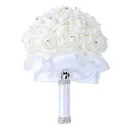 $enCountryForm.capitalKeyWord UK - 2019 Handmade Classic white Bridal Bridesmaid Flower Wedding Bouquet Artificial Flower Rose Ribbon Crystal Bouquets de