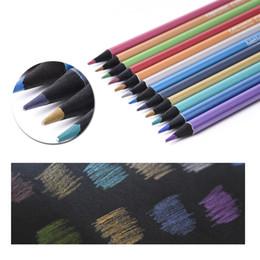 Wholesale Paper Pencils NZ - 12pcs Metallic Pencil Set --Artist 0.3MM Pencil Colored for DIY Photo Ablum Card Making Black Paper Drawing S19109