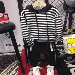 Striped Clothing Australia - WNLEIGEL 2PCS boys fashion clothing set kids hooded striped long sleeve hoodies and black pant set baby casual all match clothes