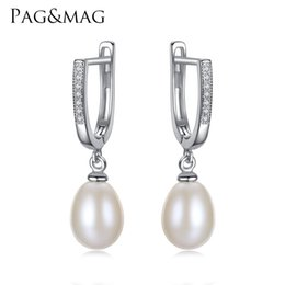 71044cfd0 Clip Silver Drop Earrings Australia - PAG&MAG Brand Classic Style  Freshwater Natural 8-9mm Drop