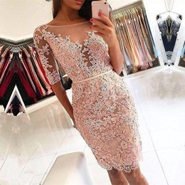 Short Red Lace Prom Dresses Straps Australia - Short Prom Dresses 2019 Beaded Lace Mermaid Formal Evening Gowns Sheer Cocktail Party Ball Dress Celebrity Red Carpet Gown