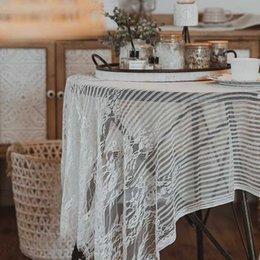 square table cloths NZ - White Lace Table Cloth French Style Cotton Stripe Anti-dust Square Table Cover Studio Photogrphy Background Home Decor