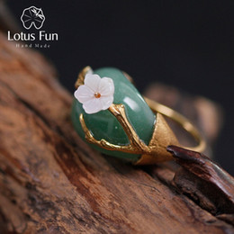 lotus flower designs NZ - Lotus Fun Real 925 Sterling Silver Natural Pink Green Stones Original Handmade Design Fine Jewelry Plum Flower Rings For Women J 190430