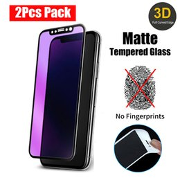 Lit Pack Australia - Matte Tempered Glass For iPhone XS MAX XR X 6 7 8 Plus Screen Protectors Carbon Fiber Anti Blue Light Glass 2pcs Pack