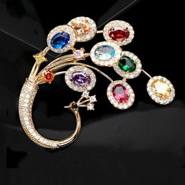 Peacock rhinestone brooch online shopping - Brooch Pins Dresses Peacock Large Size Luxury Coat Jewelry for Women Bouquet Accessories Rhinestone Crystal Animal Wedding Pin