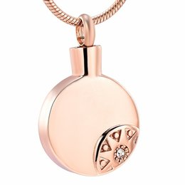 $enCountryForm.capitalKeyWord Australia - IJD10723 Stainless Steel Rose Gold Inlay Crystal Cremation Souvenir Necklaces for Ashes Urn Keepsake Memorial Pendant Locket Jewellery