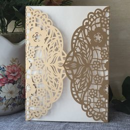Chinese  50Pcs  lot Beautiful Flower Wedding Invitation Cards Envelop Apply Royal Festival Ceremony Invitations Grand Events Supplies manufacturers