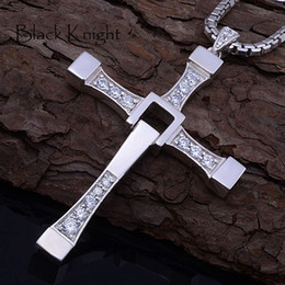 Chinese  Fast furious 8 hip hop necklace pendant Dominic Toretto cross 316 stainless steel with crystal pendant for men gift manufacturers