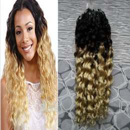 micro ring hair extensions 22 2019 - Micro Ring Hair Extensions Ombre Color Micro Bead Remy Human Hair Extensions curly Micro Loop Hair Extensions 1g s 100g