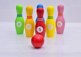 Wood Game Ball Australia - Wholesale- Free shipping Large Size Children Game Toy Funny Wood Figure Bowling Balls Wooden Solid Set