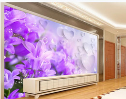 Dream houses online shopping - 3D purple dream lilac flower TV background wall decoration painting modern living room wallpapers
