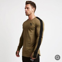 Wholesale compression t shirt for sale – custom Casual Long Sleeve Sport Shirt Men Quick Dry Mens Running T shirt Fitness Tights Gym Training t Shirt Compression Top Rashgard