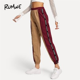 3957da79fd0f5a Romwe Letter Taped Side Pants Sweatpants 2019 Autumn Women Fashion Clothing Bottoms  Sporty Female Spring Casual Sports Trousers Y190502