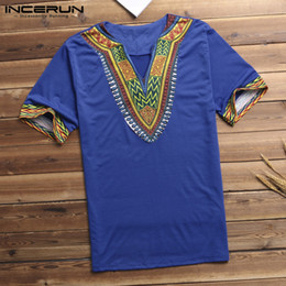 Clothes T Shirt Man Australia - African Men Clothes Men T Shirt Dashiki Printed V Neck Short Sleeve T-shirt Tribal Ethnic Succinct Camisa Masculina Multi-Color