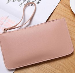 wholesale plain purses Australia - 3pcs Women PU Brief Plain Double Layer Large Capacity Phone Coin Purses 6colors