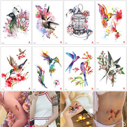 Legging Back NZ - Watercolor Temporary Tattoo Bird Cage Flowers Sticker Designs Fake Beauty Tattoo for Women Men Arm Leg Back Waist Body Art Child Accessories