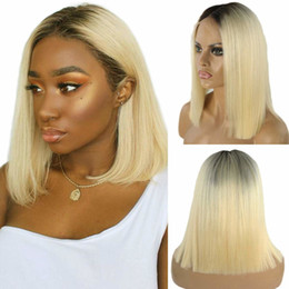 gluless human hair lace wig Australia - Ombre Human Hair Blonde Short Bob Wig 1B 613 Vrigin Front Lace Gluless Remy for Black White Women Natural Hairline