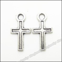 antique silver cross charms pendant Canada - 250 pcs Vintage Charms Cross Pendant Antique silver Fit Bracelets Necklace DIY Metal Jewelry Making
