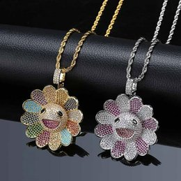 spinning diamond 2019 - 14K Gold Plated 3 Colors Colorful Bearing Sunflower Spins Pendant Necklace Micro Pave Cubic Zirconia Diamonds with 24inc