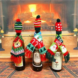 $enCountryForm.capitalKeyWord Australia - Christmas Decorations For Home Santa Claus Wine Bottle Cover Clothes Set Hat Cap Scarf Table Decor 2017 Navidad New Year Gifts
