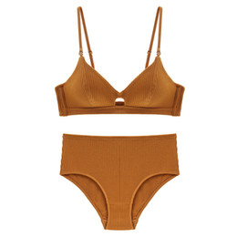 $enCountryForm.capitalKeyWord UK - Fashion Push Up Cotton Vest Panties Women Lingerie Set Noble Solid Bra Thread Padded Back Underwear Striped Design