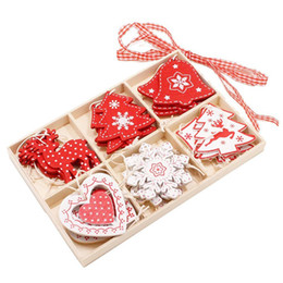 gift craft christmas Australia - Wooden Color Box Creative 6 Plaid Wooden Box Home Decoration Crafts DIY Small Gift Christmas Ornaments Hunging