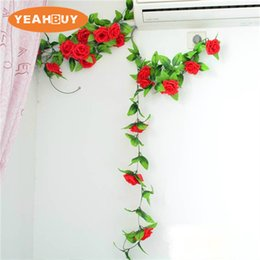 Silk White Rose Leaves Australia - 2.3M 20Color 10PCS Artificial Silk Rose Flower Vine Hanging Decorative Rattan Plants Leaves Artificials Garland Home Wedding Wall Decoration