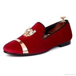 $enCountryForm.capitalKeyWord NZ - Harpelunde Slip On Men Dress Wedding Shoes Red Velvet Loafers With Gold Plate Free Shipping Size 7-14