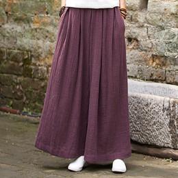 Cotton Linen Trousers Women Australia - Johnature Women Wide Leg Pants Elastic Waist Plus Size Women Trouser 2019 Summer New Casual Cotton Linen Soft Loose Pants Y19051701